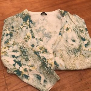 Green and blue patterned cardigan